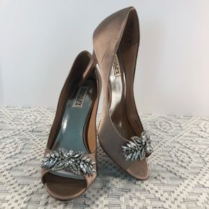 Badgley Mischka blush jeweled Satin Peep toe